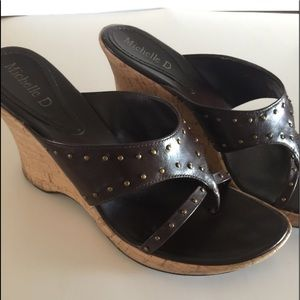 Michelle D Wedge Sandals with Brass Size 8.5